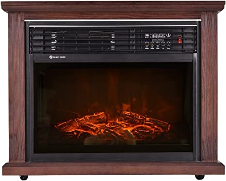 Giantex 28 Free Standing Electric Fireplace 1500w Glass View Log Flame Remote Home Space Heater Home Kitchen