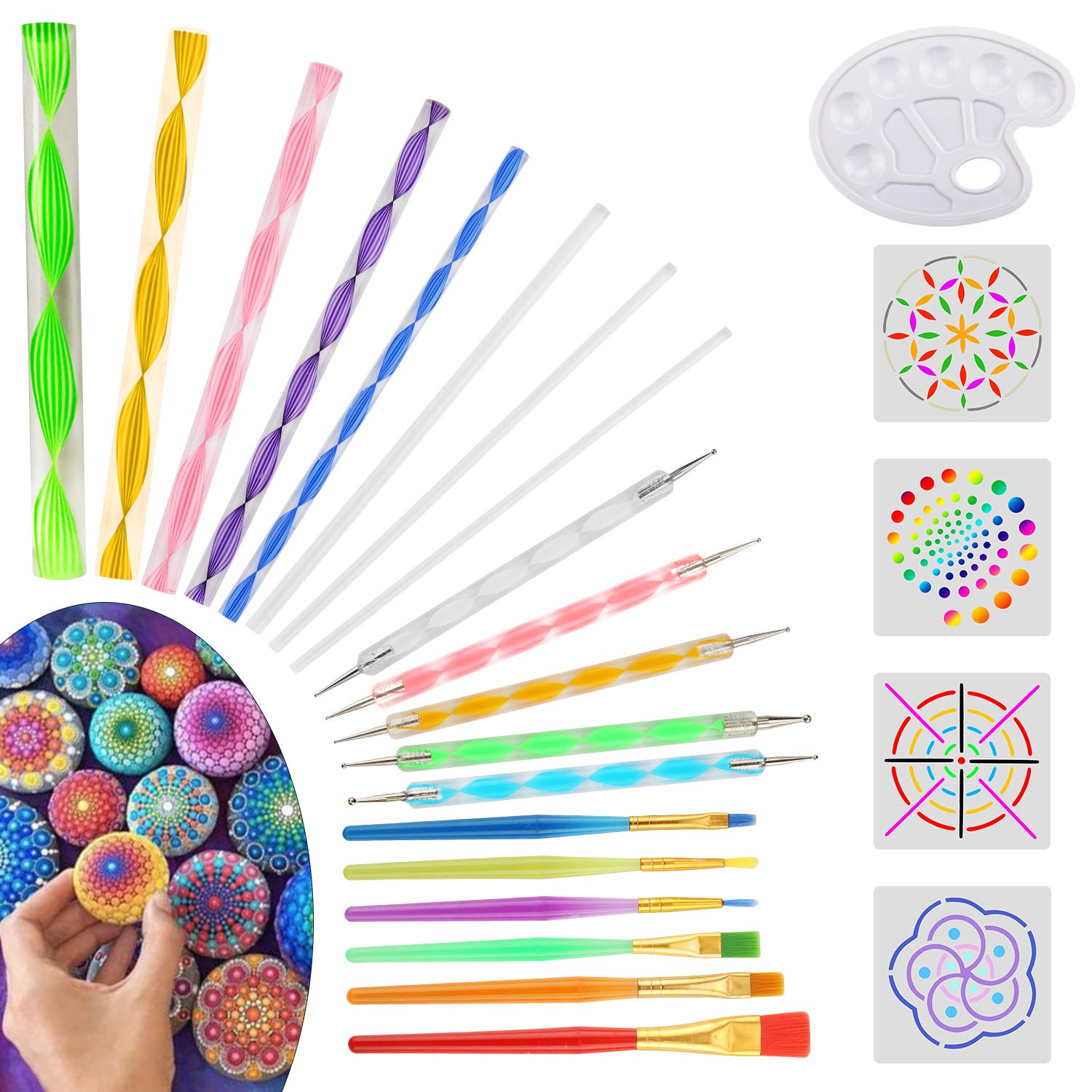 25 Pieces Mandala Dotting Tools for Painting Rocks, Coloring, Drawing and Drafting (1H-U9KG-DQ6L)