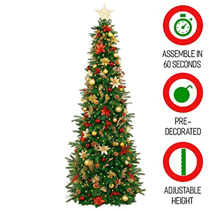 Amazon.com: Easy Treezy Prelit Christmas Tree, Easy Setup & Storage ...