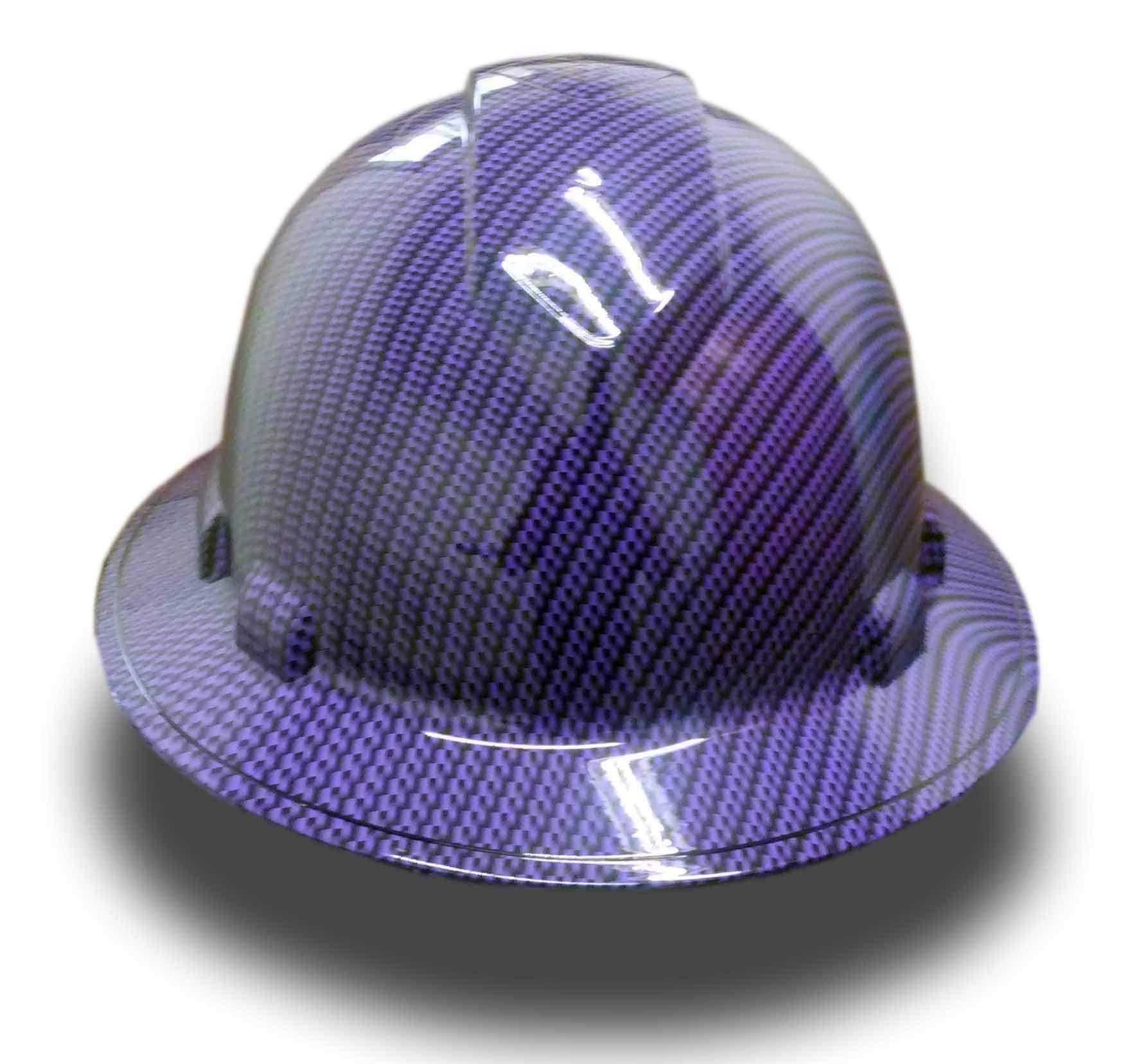 Izzo Graphics Purple Carbon Fiber Pyramex Ridgeline Full Brim Hard Hat