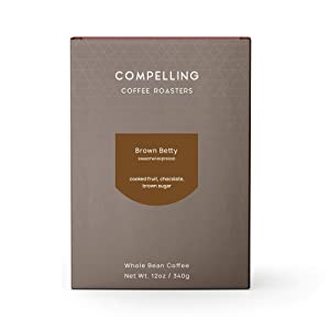 Compelling Coffee Roasters, Brown Betty, Full-bodied Notes of Milk Chocolate & Jammy Fruit, Perfect for Espresso, Drip, or French Press, Medium roast, Roasted to order, Whole Bean (12 ounces)