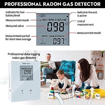 Home Radon Detector Battery-Powered Elifecity Portable Radon Meter Easy-to-Use Long and Short Term Home Radon Monitor