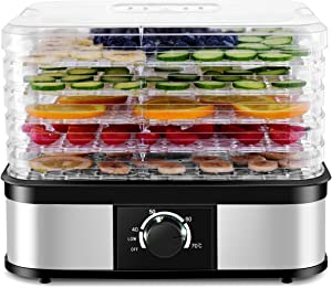 Costzon Food Dehydrator, Electric 5-Tire Fruit Vegetable Dryer with Adjustable Temperature Control from 104℉-158℉, 5 Stackable Drying Trays (Knob Adjustment)