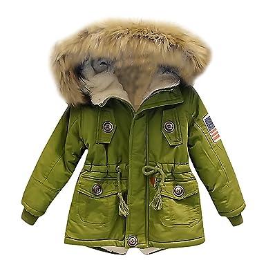10c48f0acf9f Amazon.com: Kids Boys Hooded Faux Fur Collar Coat Warm Parka Jacket  Outerwear: Clothing
