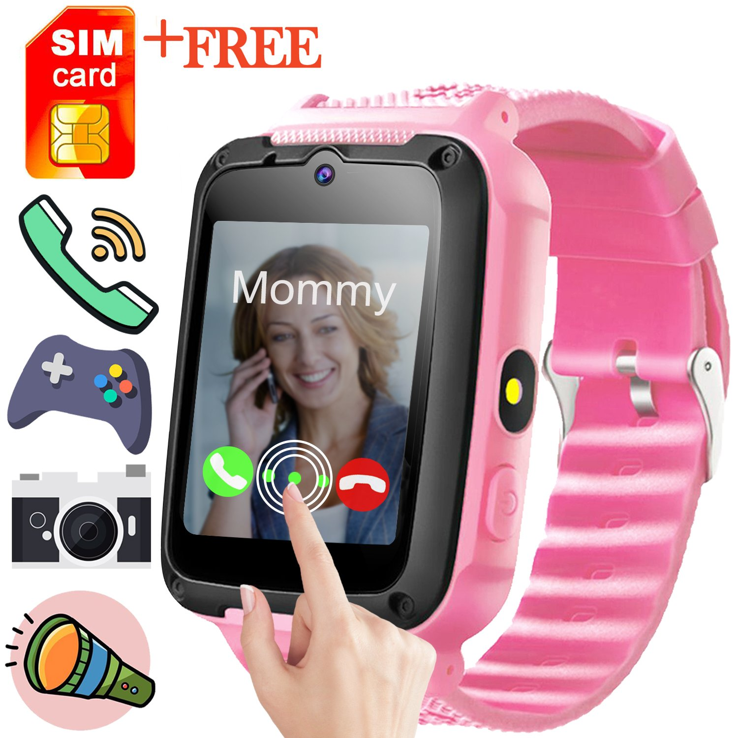 Smart Watch for Kids-GBD Kids Smartwatch Phone for Girls Boys with Free SIM (SpeedTalk) Card Game Camera Digital Wrist Watch Bracelet Electronic Learning Toys Summer Travel Birthday Gifts (Pink)