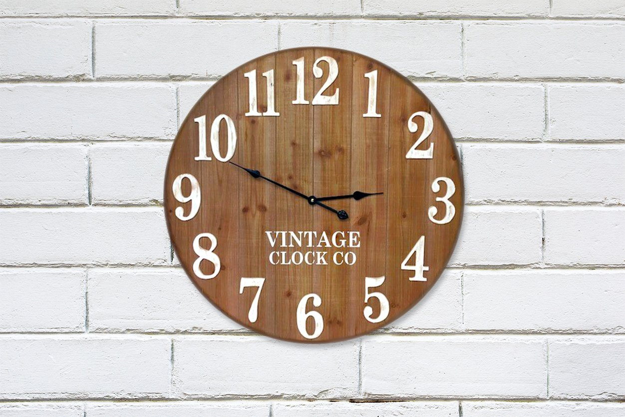 LARGE RUSTIC FARMHOUSE WALL CLOCK | 30-INCH VINTAGE WOODEN HOME DECOR ANTIQUE STYLE