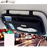 AllExtreme EXCTHB1 PU Leather Car Sun Visor Tissue Holder Napkin Card Case DVD CD Organizer Storage Bag for SUV (33x16 cm)