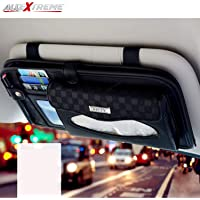 AllExtreme EXCTHB1 PU Leather Car Sun Visor Tissue Holder Napkin Card Case DVD CD Organizer Storage Bag for SUV (33x16 cm)