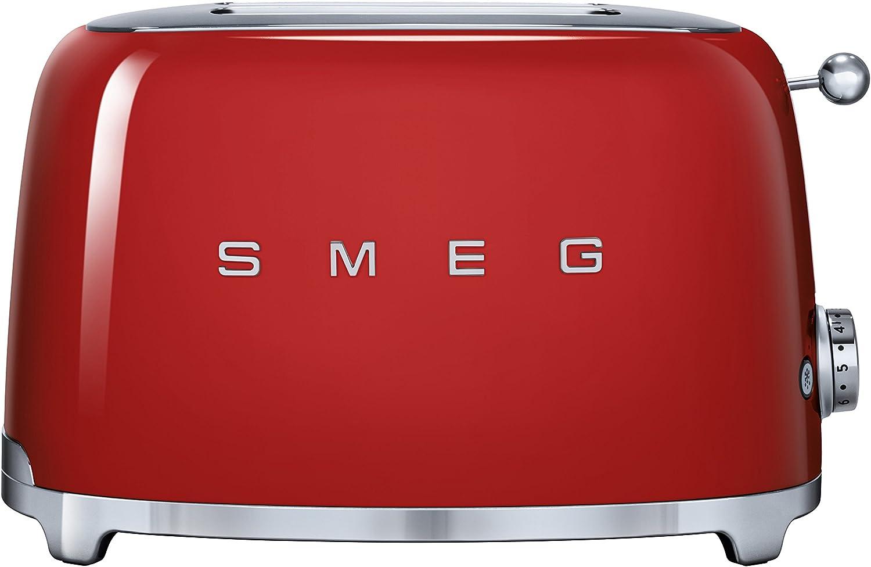 SMEG Tostador TSF01RDEU, 950 W, Acero Inoxidable, 2 Ranuras, Rojo