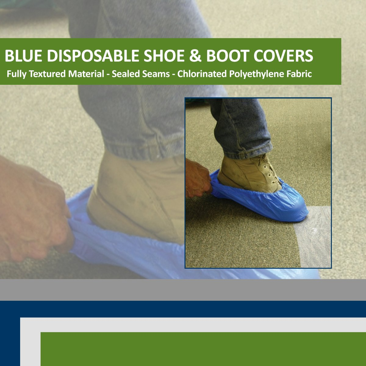 Blue CPE (.55 MM) Shoe & Boot Cover Booties, Water Proof CPE Material, Indoor & outdoor shoe or boot protection, Non Slip disposable (Size 2X 300 Pack) by Sara Glove (Image #3)
