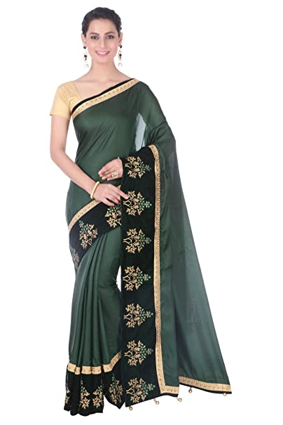 bfea12c4a9fd49 Hastakala Crepe Silk Printed Green Saree with Golden Broket Blouse:  Amazon.in: Clothing & Accessories