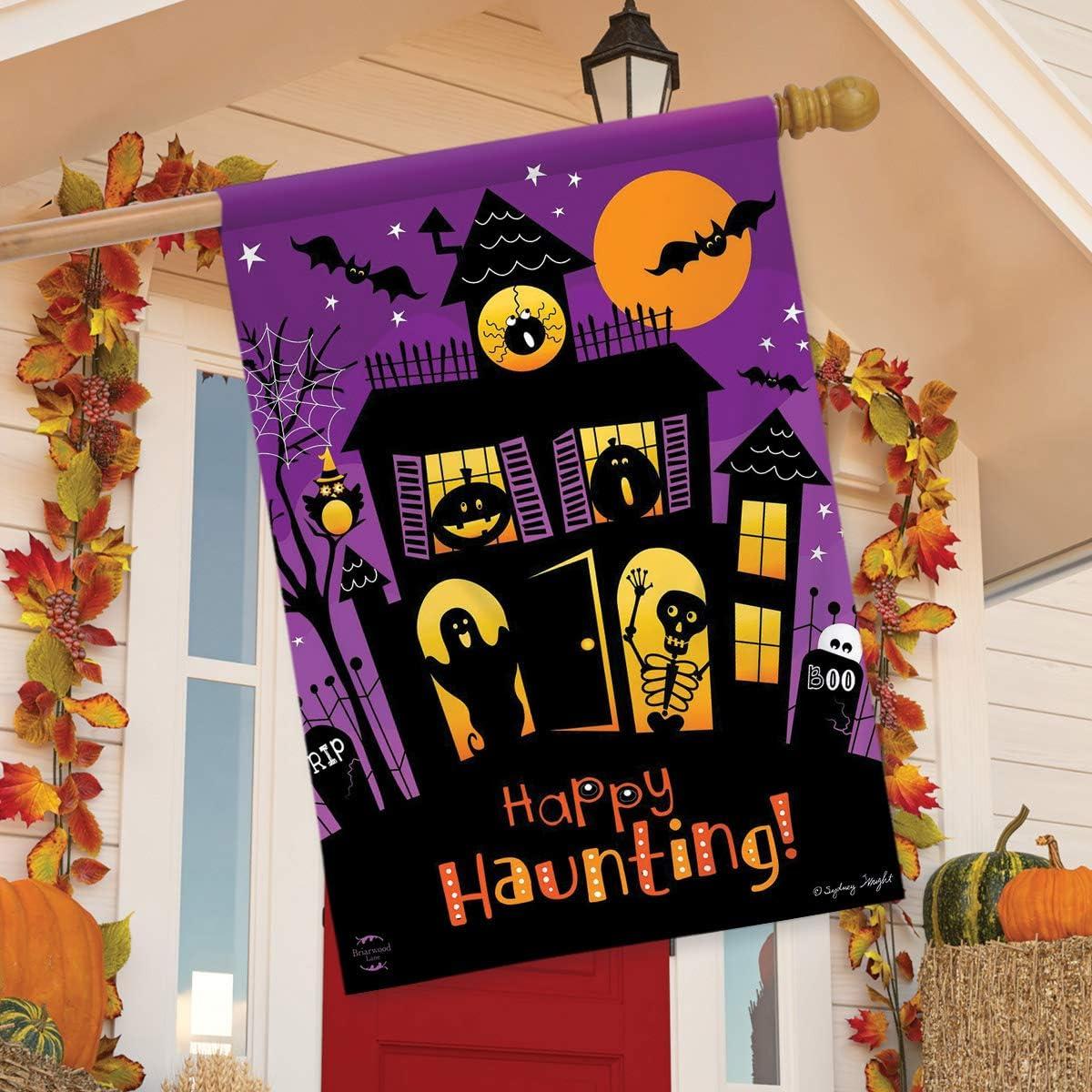 "Happy Haunting Halloween Garden Flag Haunted House 12.5/"" x 18/"" Briarwood Lane"