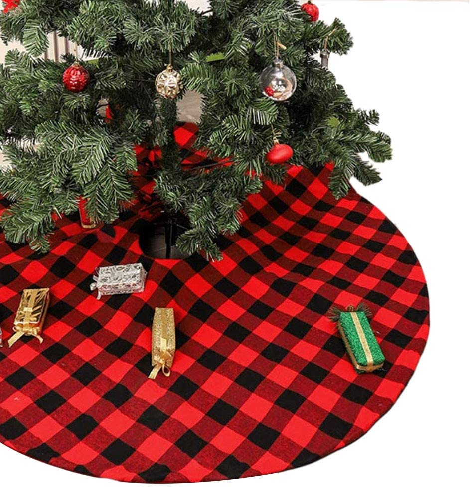 LAVENSA Home Red and Black Christmas Tree Skirt 35 Inch Plaid Christmas Tree Skirts Decorations for Christmas New Year Home Party Xmas Tree Skirt Ornaments (Red and Black, 90cm/35inches)