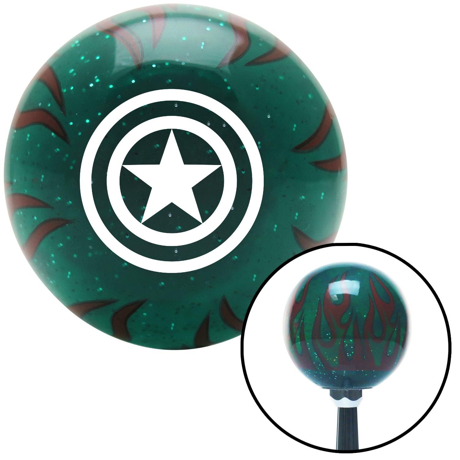 White Star Inside Circles American Shifter 266824 Green Flame Metal Flake Shift Knob with M16 x 1.5 Insert