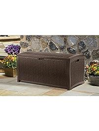Patio Deck Box Storage 99 Gallon Organizational Beautiful Mocha Brown  Wicker Large Capacity Custom