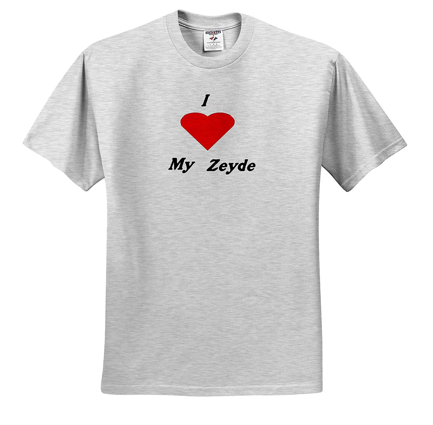 3dRose Lens Art by Florene Image of I Love My Zeyde Or Grandfather with Red Heart Jewish Humor and Sayings T-Shirts