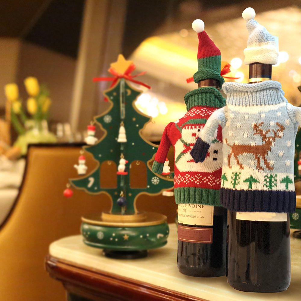 FEFEHOME Christmas Wine Bottle Cover Gift Warping Ugly Sweater (Set of 4) -(F) by FEFEHOME (Image #9)