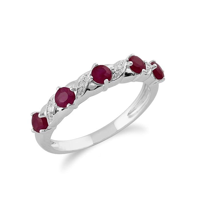 Gemondo Ruby Ring, 9ct White Gold 0.55ct Ruby & Diamond Half Eternity Ring