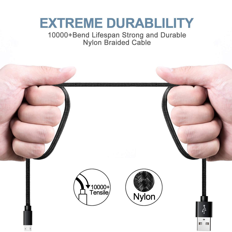C/âble Micro USB SUCESO Lot de 2,2M Chargeur Samsung Charge Rapide en Nylon Tress/é Cable Cordon Micro USB Compatible pour Samsung S7 S6 S5 A3 A5 2016,Huawei,Honor,Nexus,LG,Sony,Smartphone Android-Noir