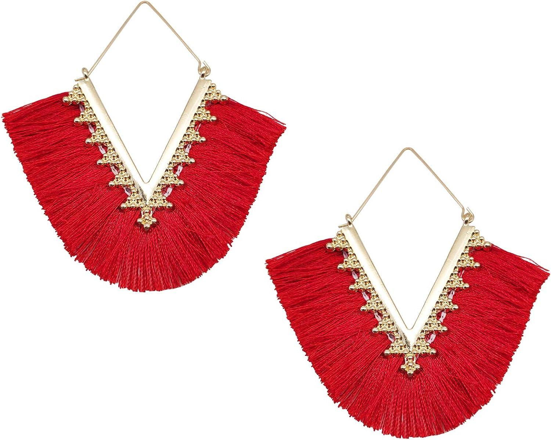 Delicate Bohemian V Shap Tassel Hoop Earring Elegant Fringe Drop Dangle Earrings for Women Girls Statement Tassel Earrings