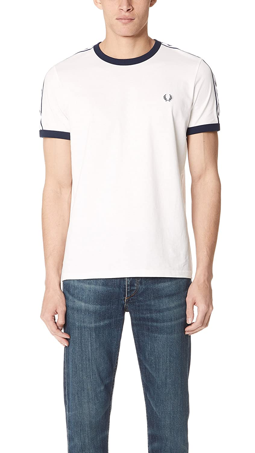 TALLA L. Fred Perry Taped Ringer Camiseta para Hombre