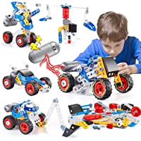 kidpal Erector Set for Boys 6-12, Building Toys Kit, 5 in 1 STEM Toy with Electric Power Motor for Kids, Construction…