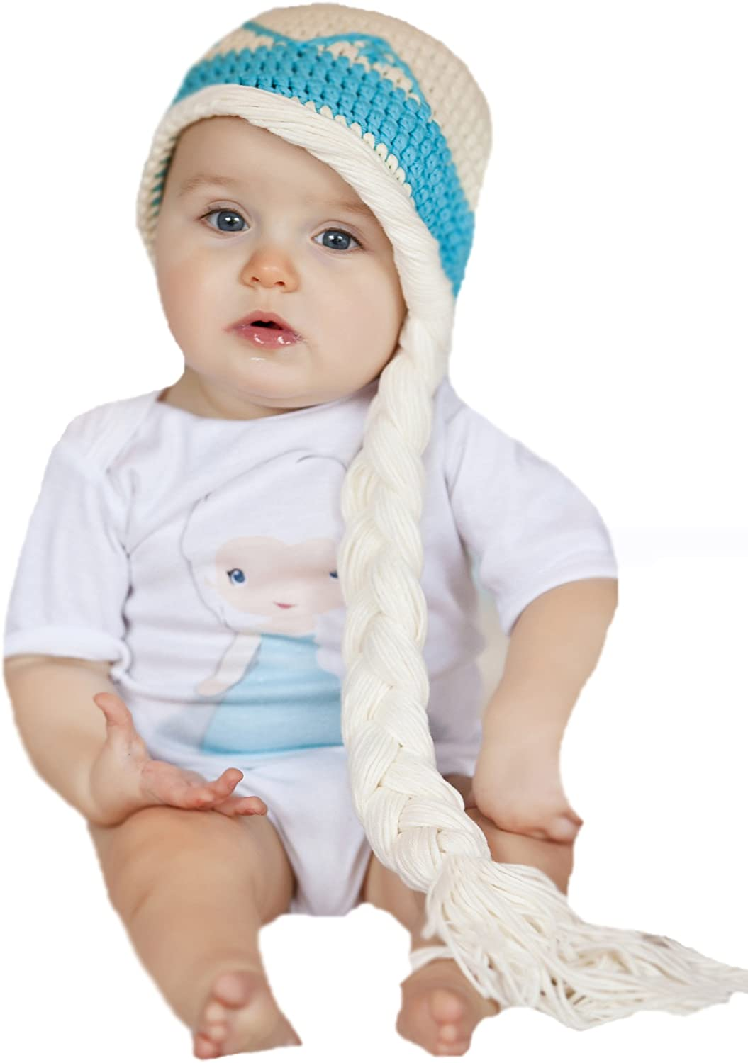 baby gift braids princess white canadian shops gift unisex gift ice 6-12m baby hat girly blue ready to ship handmade crochet