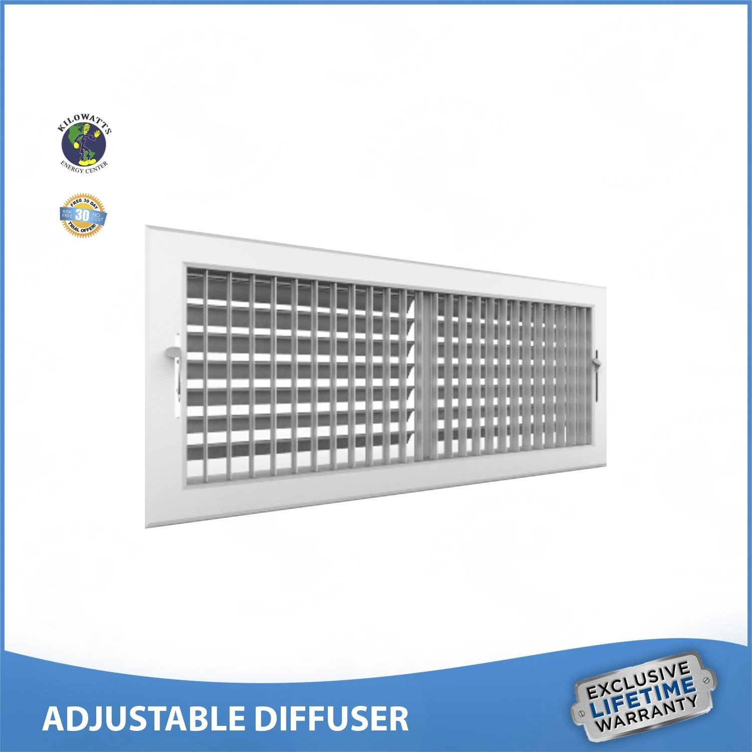 16''w x 6''h ADJUSTABLE DIFFUSER - Vent Duct Cover - Grille Register - Sidewall or Ceiling - High Airflow by Kilowatts Energy Center (Image #3)