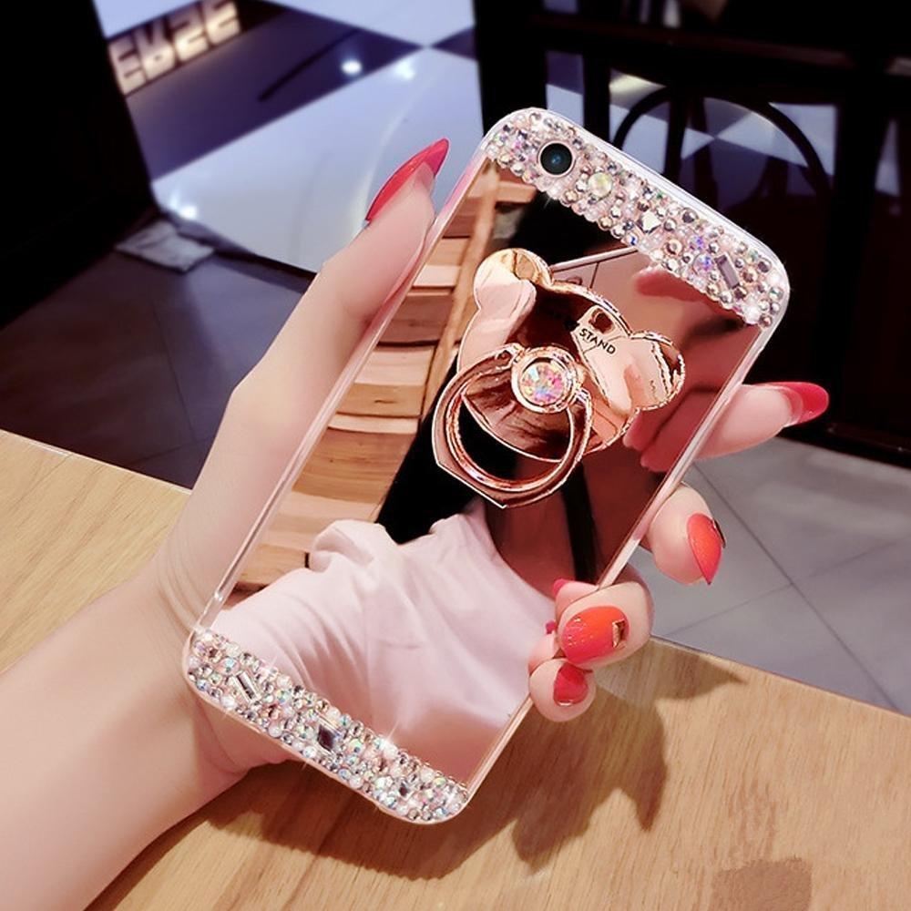 Étui Galaxy Note 3,Coque protecteur Galaxy Note 3,Charmant romantique Ours motif Housse Galaxy Note 3, ETSUE [Étui miroir Diamant en cristal brillant Bling Glitter] Galaxy Note 3 Slicone Coque en caoutchouc,Ultr
