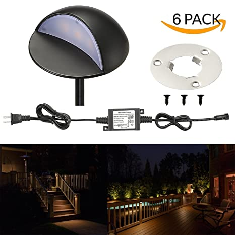 LED Deck Lights Kit, FVTLED Pack Of 6 Low Voltage LED Step Stair Lights Φ1