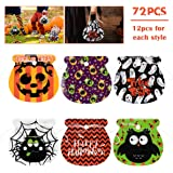 Amosfun 72PCS Halloween Candy Bags Drawstring Trick or Treat Bags Halloween Goodie Bags Assortment for Kids Halloween…