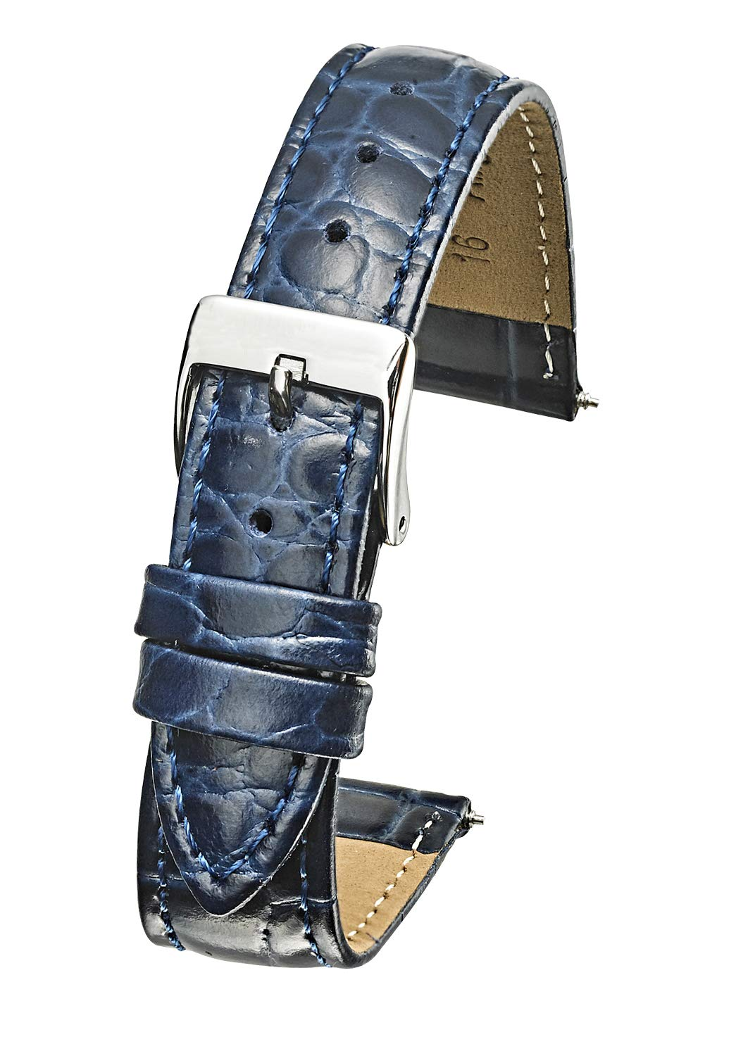 Genuine Leather Padded Stitched Watch Band Strap in Shiny Alligator Grain Finish - 20mm - Blue