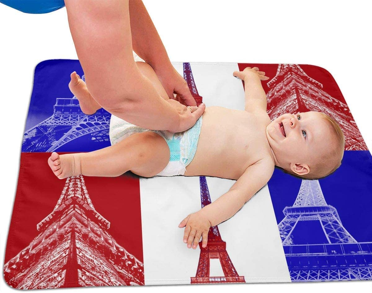 Eiffel Tower French Flag Portable Diaper Baby Changing Pad Multi-Purpose Travel Changing Mat