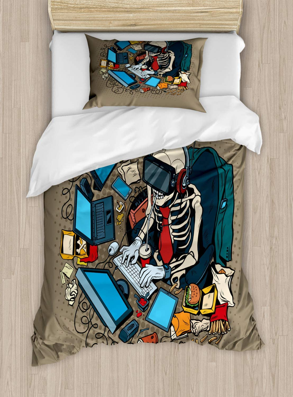 Ambesonne Gamer Duvet Cover Set, Skeleton Programmer and Hacker in Virtual Reality Eating Fast Food Theme Illustration, Decorative 2 Piece Bedding Set with 1 Pillow Sham, Twin Size, Khaki Blue