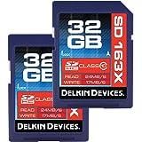 Delkin 32 GB SDHC 163X Class 10 Memory Card, 2 Pack (DDSD163-32 GB(2X32))