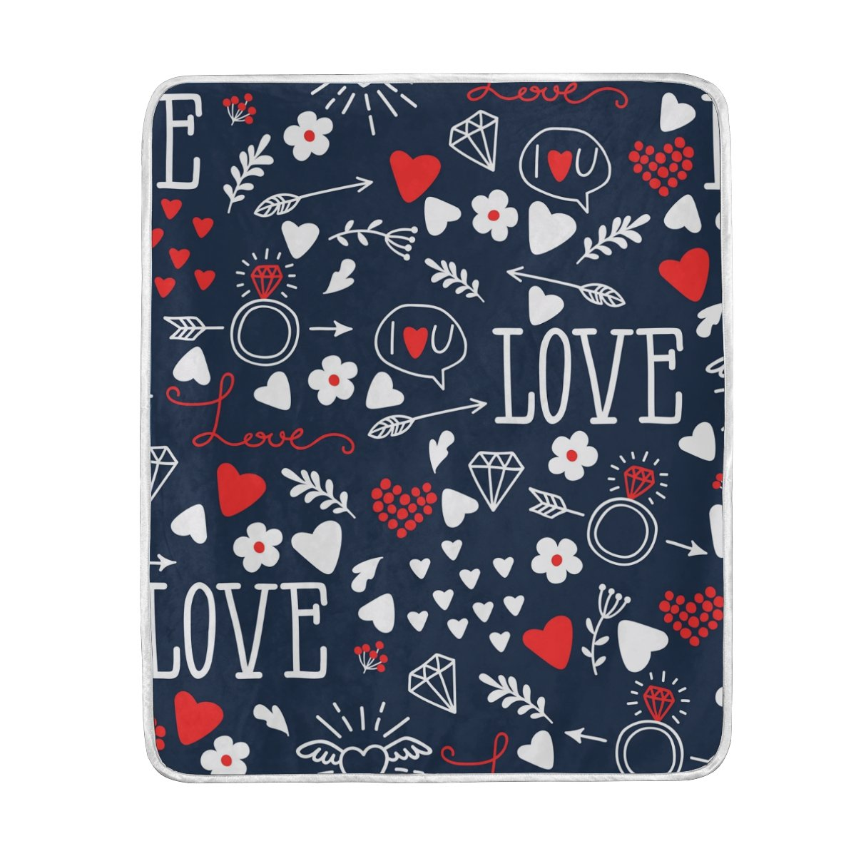 My Little Nest Hearts Arrows Rings Love Cozy Throw Blanket Lightweight MicrofiberSoft Warm Blankets Everyday Use for Bed Couch Sofa 50'' x 60''