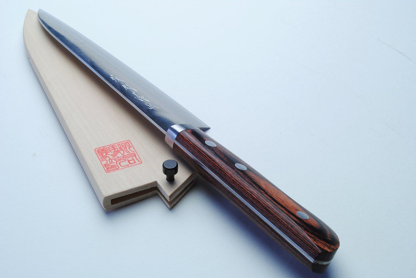 Yoshihiro VG-1 Gold Stainless Steel Gyuto Japanese Chef Knife 7'' (180mm) Magnolia Wood Saya Cover by Yoshihiro (Image #2)