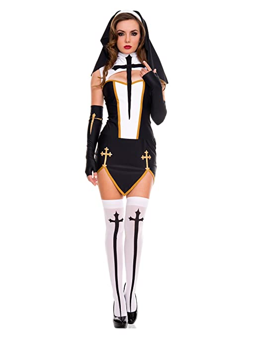 98da70be0 Amazon.com   Sexy Bad Habit Nun Costume (M L)   Pet Supplies