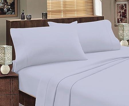 Sábanas de franela 100% de algodón egipcio, sábana normal, sábana bajera ajustable y fundas de almohada, algodón egípcio, azul claro, Double Fitted Sheet 135 x 190 x 23 cm: Amazon.es: Hogar
