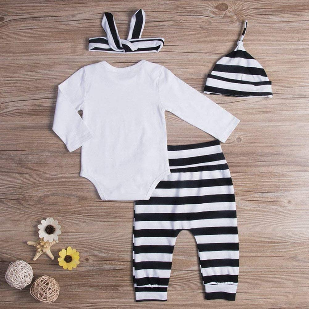 i-Auto Time Baby Girl Boy Clothes New to The Crew Romper+Striped Pants+Hat+Headband