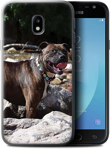 Coque pour Samsung Galaxy J3 2017/J330 Races Chien/Canines Populaire Staffordshire Bull Terrier Désign Transparent Doux Silicone Gel/TPU Souple Etui ...