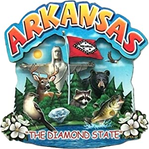 Arkansas State Montage Wood Fridge Magnet 2