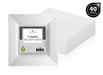 \u0026quot;Elite Selection\u0026quot; Pack Of 40 White Salad Dessert Square Disposable Plastic Party Plates  sc 1 st  Amazon.com & Amazon.com: \