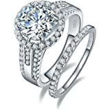 BONLAVIE 3.45ct 925 Sterling Silver Cubic Zirconia Halo Anniversary Wedding Band Engagement Ring Bridal Set