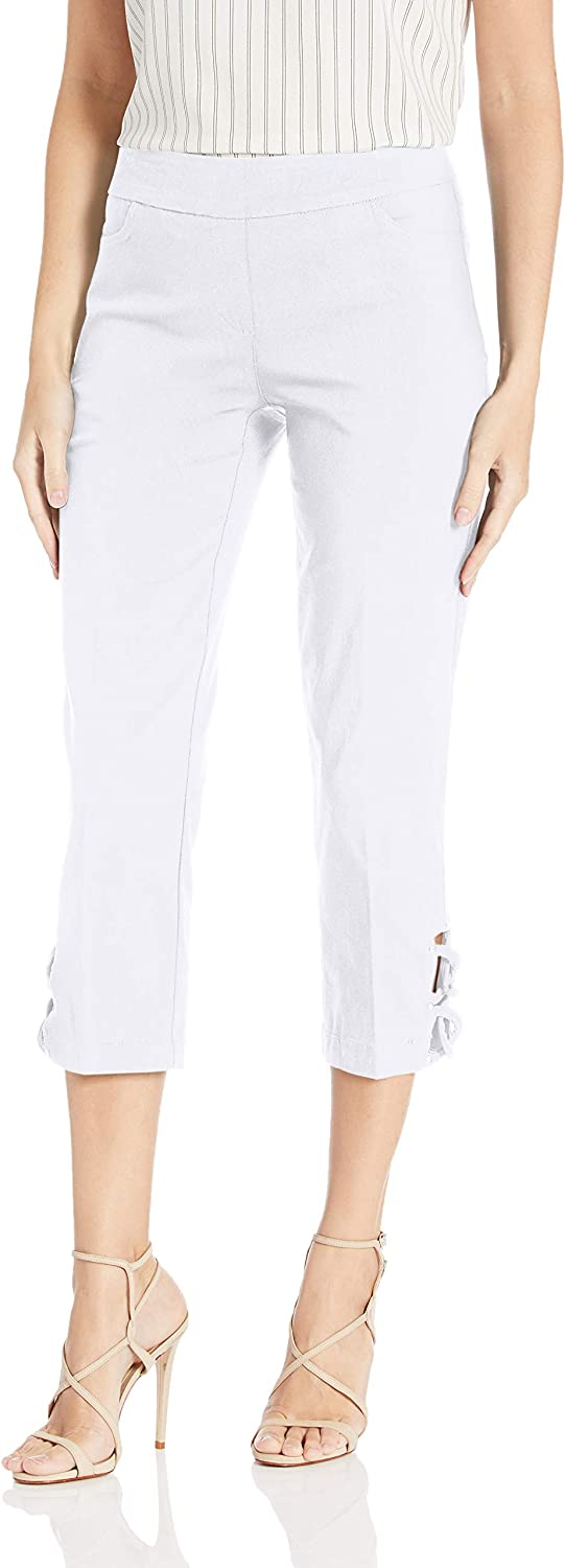 SLIM-SATION Women's Pull Baltimore Mall on Solid with Back Pockets Arlington Mall Front Crop