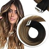 Sunny Tape, Extensiones de Cabello Natural Balayage, Colores Para Cabello Negro Extensiones Balayage Omber Castano Mezclado R