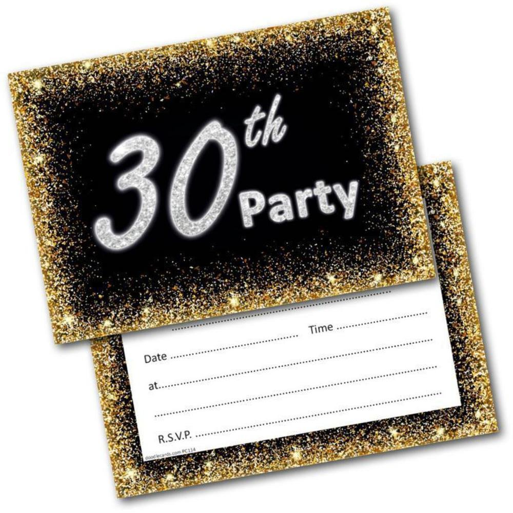 30th Birthday Party Invitations Age 30 Male Mens Female Womens Pack 20 Invites Doodlecards