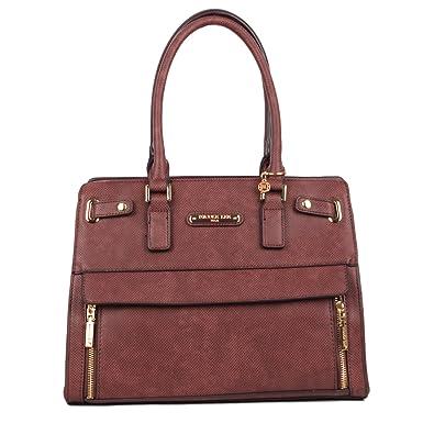 Nicole Lee Women s Ciel Large Satchel Smart Lunch Travel Shoulder Bag,  Brown, One Size be57c977de