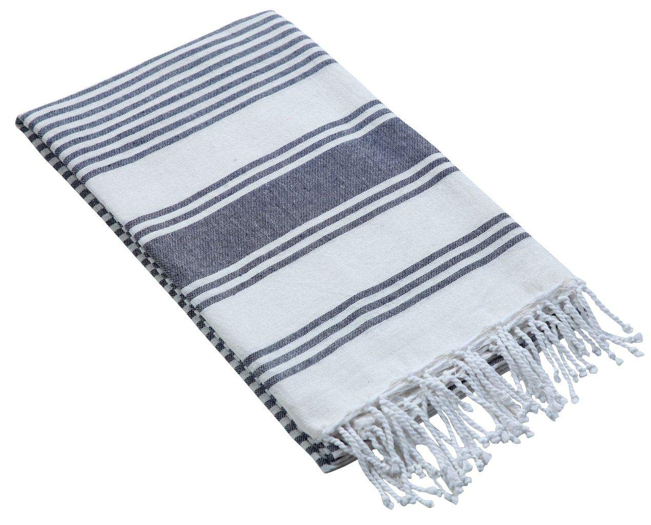 Thin Beach Towel in Cotton Fabric with Quick Dry Absorbent Quality,Peshtemal Beach Towel,Pool Blanket,Fouta Beach Towels,Gym Pool Blanket Fouta Towels,- Stripe Design 39x70 -Charcoal White.Set of 2