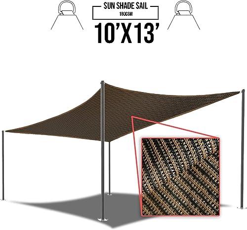 E K Sunrise 10 x 13 Brown Rectangle Sun Shade Sail Outdoor Shade Cloth UV Block Fabric,Curve Edge-Customized